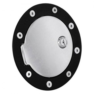 AMI® - Race Style Locking Flat Black Ring and Chrome Door Billet Gas Cap