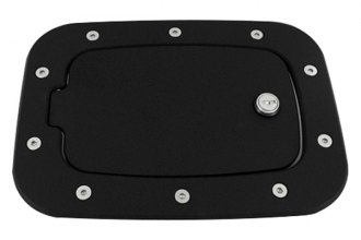 AMI® 6058KL - Race Style Flat Black Ring and Black Door Locking Billet Fuel Door