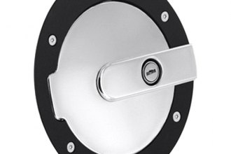 AMI® 6070GKCL - Race Style Gloss Black Ring and Chrome Door Locking Billet Fuel Door