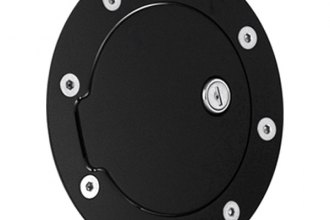 AMI® 6090GKL - Race Style Gloss Black Ring and Black Door Locking Billet Fuel Door