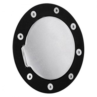 AMI® - Race Style Non-Locking Gloss Black Ring and Chrome Door Billet Gas Cap Cover