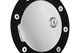 AMI® 6101KCL - Race Style Flat Black Ring and Chrome Door Locking Billet Fuel Door