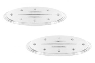 AMI® 57706 - Oval Step Style Polished with Rivets and Ball Milled Lines Grille and Tailgate Billet Emblems