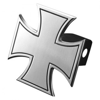 "AMI® - Polished Bordered Iron Cross Hitch Cover for 2"" Receivers"