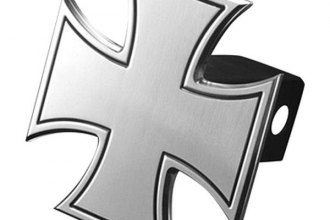 AMI® - Bordered Iron Cross Polished Hitch Cover