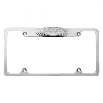 AMI® - Plain Style Brushed License Plate Frame with Flame Tag