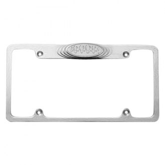 AMI® - Plain Style Polished License Plate Frame with Flame Tag
