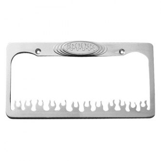AMI® - Flame Style Brushed License Plate Frame with Flame Tag