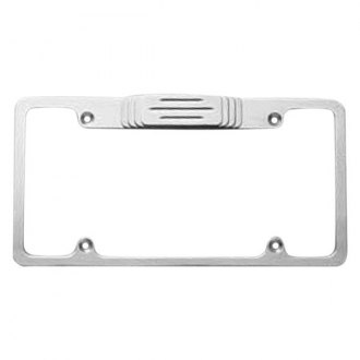 AMI® - Plain Style Brushed License Plate Frame with Ball-Milled Tag