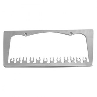 AMI® - Tapered Edge Flame Style Brushed License Plate Frame