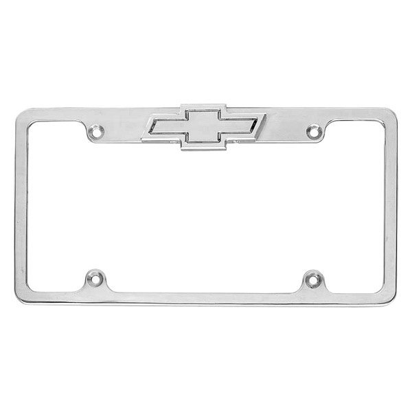 AMI® - Plain Style Brushed License Plate Frame with Bowtie Tag and Light