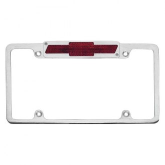 AMI® - Plain Style Polished License Plate Frame with Bowtie Tag and Light