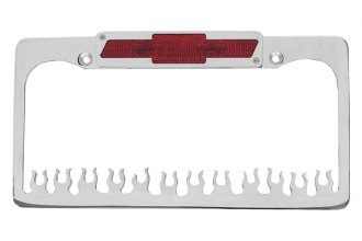 AMI® - Flame Style Brushed License Plate Frame with Bowtie Tag