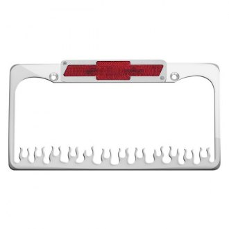 AMI® - Flame Style Polished License Plate Frame with Bowtie Tag