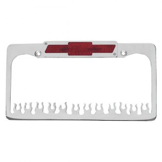 AMI® - Flame Style Polished License Plate Frame with Bowtie Tag and Light