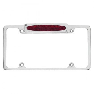 AMI® - Plain Style Polished License Plate Frame with Oval Tag and Light