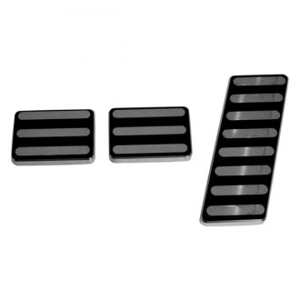 AMI® - Lined Style Black Powder Coated Billet Pedal Pads