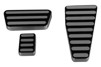 AMI® 43LK - Lined Style Black Powder Coated Billet Pedal Pads