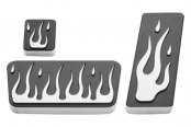 AMI® - Flame Style Black Powder Coated Billet Pedal Pads
