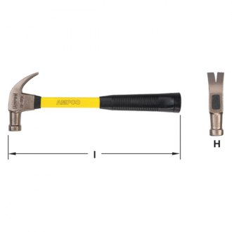 "Ampco® - 1.25 lbs. 14"" OAL Claw Hammer"
