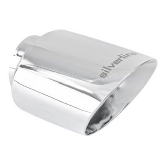 "Ansa® - Silverline™ 304 SS Oval Angle Cut Weld-On Chrome Exhaust Tip (2.38"" ID, 5.5"" Length)"