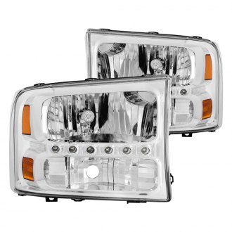 Anzo® - Chrome Euro Headlights with LEDs and Amber Reflector