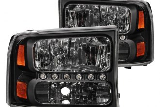 Anzo® - Black Euro Headlights with LEDs and Amber Reflector