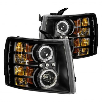 Anzo® - Black Halo Projector Headlights with LEDs and Amber Reflector