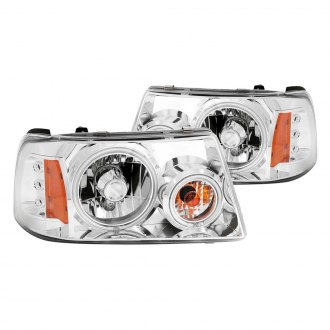 Anzo® - Chrome CCFL Halo Headlights with LEDs and Amber Reflector