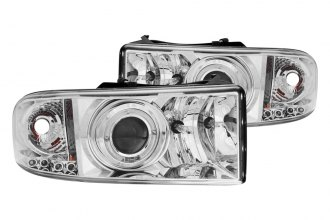Anzo® - Chrome Halo Projector Headlights with LEDs and Amber Reflector