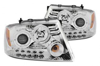 Anzo® - Chrome Dual Halo Projector Headlights with LEDs and Amber Reflector G2