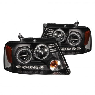 Anzo® - Black Dual Halo Projector LED Headlights with Amber Reflector