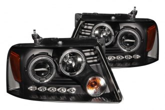 Anzo® - Black Dual Halo Projector Headlights with LEDs and Amber Reflector G2