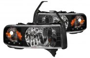 Anzo® - Black Euro Headlights with LEDs