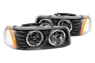 Anzo® - Black Halo Headlights with LEDs and Amber Reflector