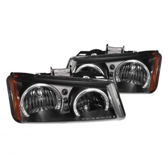 Anzo® - Black Dual Halo Headlights with LEDs and Amber Reflector
