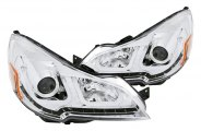 Anzo® - Chrome U-Bar Style Projector Headlights with LEDs