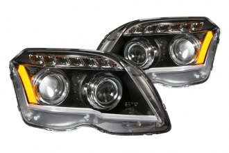 Anzo® - Black Plank Style Projector Headlights with LEDs