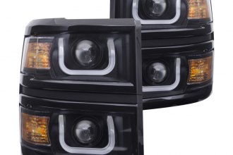 Anzo® - Black U-Bar Style Projector Headlights with Gloss Black Trim