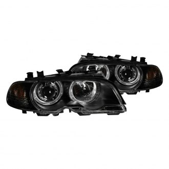 Anzo® - Black Halo Projector Headlights with Corner Lights