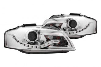 Anzo® - Chrome Halo Projector Headlights with R8 LED Style