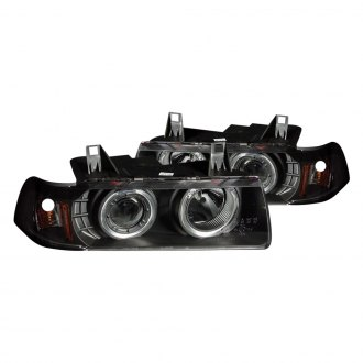 Anzo® - Black Halo Projector Headlights with LEDs and Amber Reflector G2