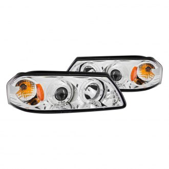 Anzo® - Chrome Halo Projector LED Headlights with Amber Reflector