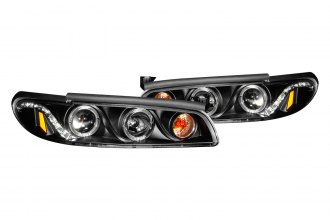 Anzo® - Black Dual Halo Projector Headlights with Corner Lights
