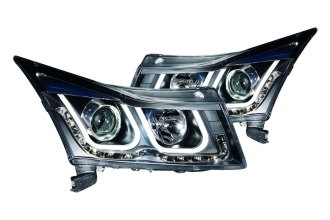 Anzo® - Black U-Bar Style Projector Headlights with LEDs