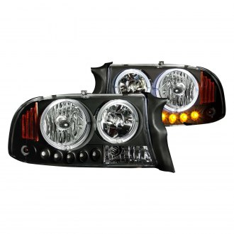 Anzo® - Black Halo Euro Headlights with Parking LEDs