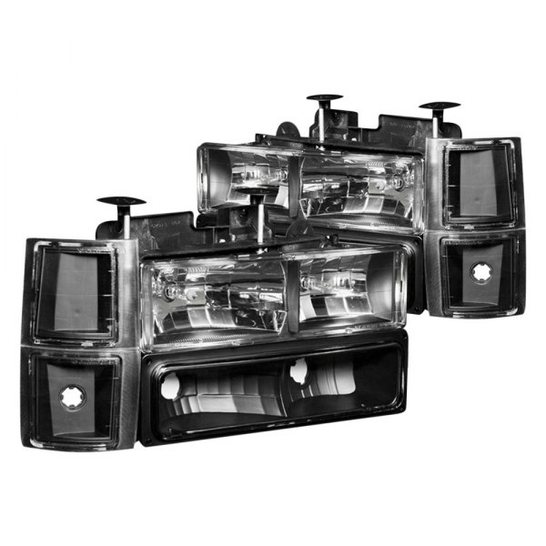 Anzo® - Black Euro Headlights with Signal and Side Markers Lights
