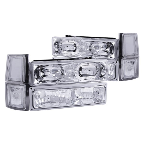 Anzo® - Chrome Halo Euro Headlights with Signal and Side Markers Lights