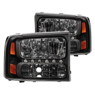 Anzo® - Black Euro LED Headlights with Amber Reflector