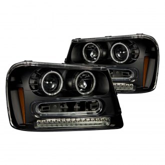 Anzo® - Black CCFL Halo Projector Headlights with LED Turn Signal/Parking Lights